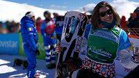 Radost Evy Samkové po vítězství ve Světovém poháru v La Molině.