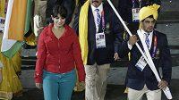 Indická výprava při slavnostním zahájení olympijských her.