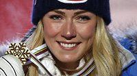 Mikaela Shiffrinová se zlatou medailí ze super G na světovém šampionátu v Aare.