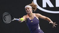 Karolína Muchová při duelu 2. kola Australian Open s Američankou Bellisovou.