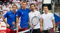 Aktéři čtyřhry prvního kola davis Cupu mezi Českou republikou a Německem: (zleva) Radek Štěpánek, Tomáš Berdych, Philipp Kohlschreiber a Philipp Petschner.