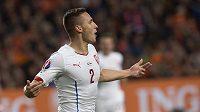 Pavel Kadeřábek jásá po vedoucím gólu proti Nizozemsku v kvalifikaci ME v Amsterdamu.