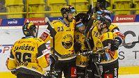 Hokejisté Litvínova se radují z prvního gólu - zleva Richard Jarůšek, Michal Moravčík, František Gerhát a Martin Hanzl.