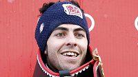 Italský lyžař Stefano Gross po triumfu v Adelbodenu.