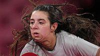 Dvanáctiletá stolní tenistka Hind Zazaová ze Sýrie se rozloučila s hrami po porážce s Liu Jia z Rakouska.