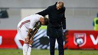 Zraněný Španěl Sergio Ramos během utkání s Albánií.