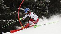 Rakušan Marco Schwarz během kombinačního slalomu ve Wengenu.