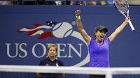Radost Petry Cetkovské po posledním míčku v zápase s Dánkou Caroline Wozniackou na US Open.