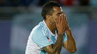 Argentinský útočník Carlos Tévez nevyužil svoji šanci na mistrovství Jižní Ameriky v duelu proti Paraguayi.
