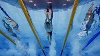 Belgický plavec Glenn Surgeloose během finále na 100 metrů na ME v Londýně.