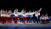 Ruská výprava během zahájení zimní olympiády v Soči.