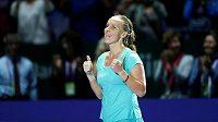 Štastná a unavená Světlana Kuzněcovová po vítězství v úvodním utkání Bílé skupiny na Turnaji mistryň