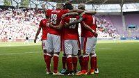 Fotbalisté Švýcarska se radují z gólu proti Belgii.