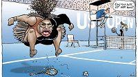 """Karikatura vztekající se Sereny Williamsové od Mark Knighta pro deník Herald Sun. """"Nemůžeš ji prostě nechat vyhrát,"""" domlouvá na ní sudí Carlos Ramos pozdější vítězce US Open Naomi Osakaové."""