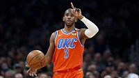 Chris Paul z týmu Oklahoma City Thunder v utkání NBA proti Bostonu.