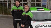 Esapekka Lappi, pilot továrního týmu Škoda Motorsport, s úřadujícím mistrem Evropy Janem Kopeckým (vlevo).