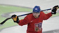 Útočník David Pastrňák během tréninku české hokejové reprezentace v Paříži.