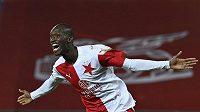 Klíčový muž derby. Abdallah Sima ze Slavie se raduje ze svého druhého gólu.