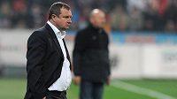 Plzeňský trenér Pavel Vrba během utkání se Slavií.