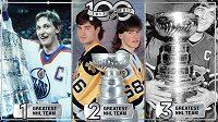 Takto vypadá trojlístek nejlepších týmů v dějinách NHL. Vlevo vítězný Edmonton ze sezóny 1984/85, uprostřed druhý Pittsburgh z ročníku 1991/92 i s Jaromírem Jágrem a třetí Montreal ze sezóny 1976/77.