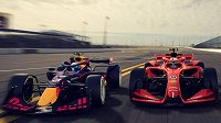 Ukázka monopostů Formule 1 pro rok 2021 v grafické vizualizaci.