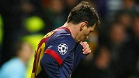 """""""Dudlík"""" barcelonského Lionela Messiho na oslavu gólu do sítě Celtiku."""
