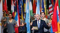 Prezident FIFA Gianni Infantino na kongresu v Mexico City.
