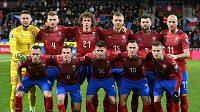 Český tým před zápasem s Kosovem.