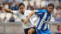 Bývalý Fotbalista Deportivy la Coruňa a Realu Madrid Víctor Sánchez (vpravo) byl dočasně odvolán z pozice hlavního trenéra Malagy. Archivní foto