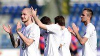 Hráči Boleslavi se radují z vítězství v prvním pohárovém semifiále nad Plzní.