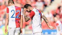 Smutný záložník Slavie Danny během utkání 26. kola se Slováckem.