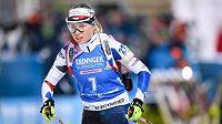 Eva Kristejn Puskarčíková během sprintu žen na 7,5 km v rámci Světového poháru v biatlonu, dne 5. března 2020 v Novém Městě na Moravě.