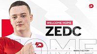 "Do esportové organizace Dynamo Eclot se vrací CS:GO hráč Adam ""ZEDc"" Bartko."