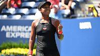 Naomi Ósakaová se raduje z postupu do semifinále na US Open.