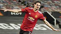 Edinson Cavani z Manchesteru United se raduje z branky