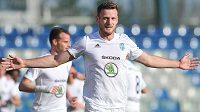 Antonín Křapka z Boleslavi slaví gol.