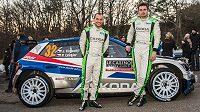 Cesta za titulem začíná. Jan Kopecký (vpravo) a navigátor Pavel Dresler před startem na Rallye Monte Carlo 2018 se Škodou Fabia R5 v národních barvách.