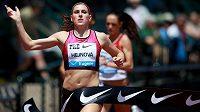 Zuzana Hejnová probíhá vítězně cílem závodu Diamantové ligy v Eugene.