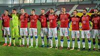 Český tým před utkáním s Islandem.