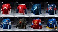 Takhle vypadají dresy všech osmi týmů, které se zúčastní Světového poháru v ledním hokeji.
