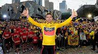 Dojatý Cadel Evans mezi svými krajany v Melbourne.