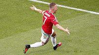 Balázs Dzsudzsák se raduje poté, co vstřelil gól proti Portugalsku.