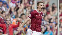 Sparťan Dočkal se při derby se Slavií raduje ze svého gólu na 3:0.