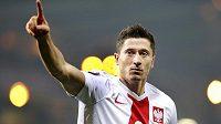 Polský ostrostřelec Robert Lewandowski oslavuje gól proti Skotsku.