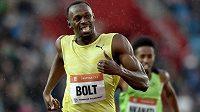 Jamajský sprinter Usain Bolt v cíli závodu na 200 m na atletickém mítinku Zlatá tretra v Ostravě.
