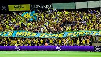 Fanoušci Maccabi Tel Aviv, soupeře plzeňských fotbalistů v 3. předkole Ligy mistrů.