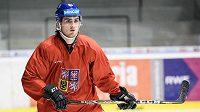 Filip Zadina na tréninku české hokejové reprezentace.