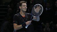 Tomáš Berdych už vyhlíží svůj další zápas na londýnském Turnaji mistrů - v pátek se utká s Novakem Djokovičem.
