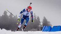 Michal Krčmář na trati závodu SP v Oberhofu.