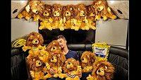 Julian Alaphilippe se svými plyšovými lvy. Má jich celkem čtrnáct - přesně tolik dní strávil ve žlutém trikotu.